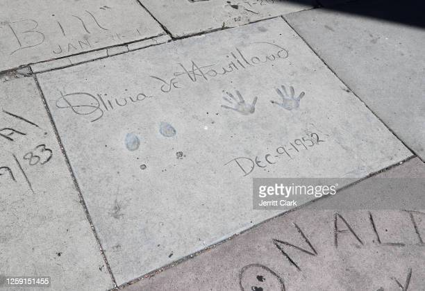 Actress Olivia de Havilland's hand and footprint is seen at the TCL Chinese Theater on July 26 2020 in Los Angeles California Olivia de Havilland...