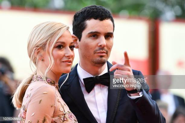 Actress Olivia Hamilton and director Damien Chazelle arrive for the opening ceremony of the 75th Venice Film Festival and the premiere of the film...
