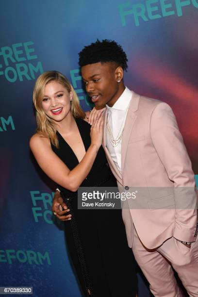 Actress Olivia Holt and actor Aubrey Joseph of 'Marvel's Cloak Dagger' attend Freeform 2017 Upfront at Hudson Mercantile on April 19 2017 in New York...