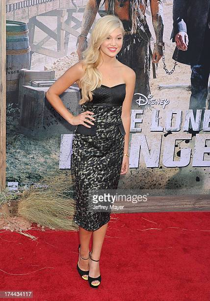 Actress Olivia Holt arrives at 'The Lone Ranger' World Premiere at Disney's California Adventure on June 22 2013 in Anaheim California