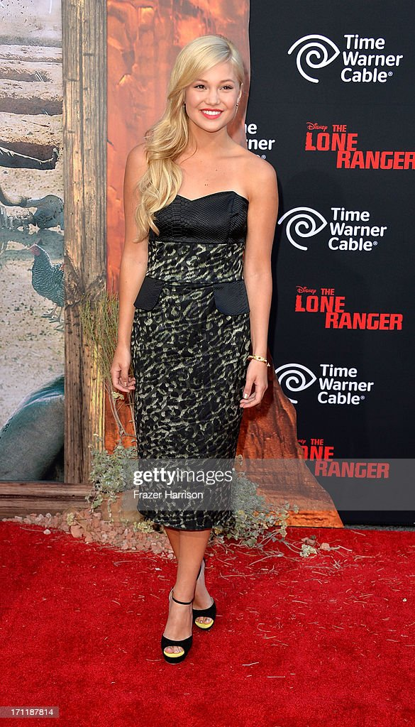 Actress Olivia Holt arrives at the premiere of Walt Disney Pictures' 'The Lone Ranger' at Disney California Adventure Park on June 22, 2013 in Anaheim, California.