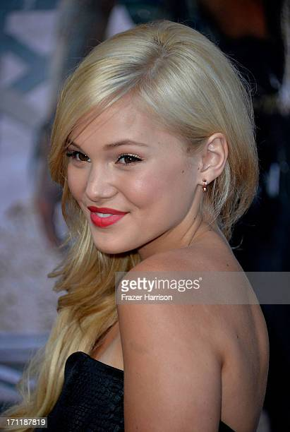 Actress Olivia Holt arrives at the premiere of Walt Disney Pictures' 'The Lone Ranger' at Disney California Adventure Park on June 22 2013 in Anaheim...