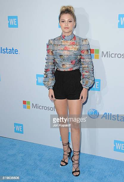 Actress Olivia Holt arrives at WE Day California at The Forum on April 7 2016 in Inglewood California