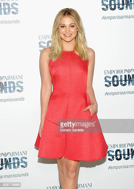 Actress Olivia Holt attends Emporio Armani Sounds Los Angeles at NeueHouse Los Angeles on February 11 2016 in Hollywood California