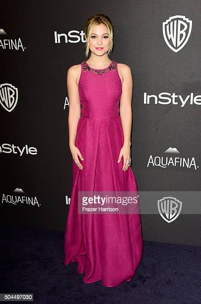 Actress Olivia Holt attends InStyle and Warner Bros 73rd Annual Golden Globe Awards PostParty at The Beverly Hilton Hotel on January 10 2016 in...
