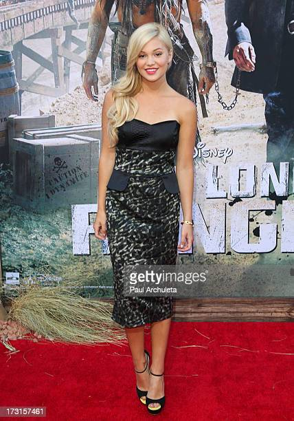 Actress Olivia Holt attends The Lone Ranger Los Angeles premiere at Disney California Adventure Park on June 22 2013 in Anaheim California
