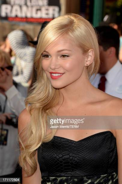 Actress Olivia Holt attends the premiere of Walt Disney Pictures' The Lone Ranger at Disney California Adventure Park on June 22 2013 in Anaheim...