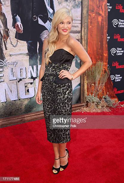 Actress Olivia Holt attends The World Premiere of Disney/Jerry Bruckheimer Films' The Lone Ranger at Disney California Adventure Park on June 22 2013...