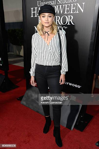 Actress Olivia Holt attends Universal Studios 'Halloween Horror Nights' opening night at Universal Studios Hollywood on September 16 2016 in...