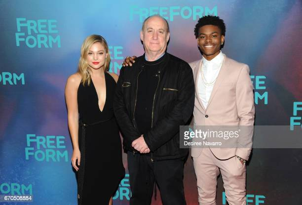 Actress Olivia Holt film writer Jeph Loeb and actor Aubrey Joseph attend Freeform 2017 Upfront at Hudson Mercantile on April 19 2017 in New York City