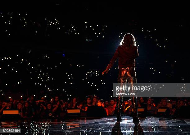 Actress Olivia Holt performs onstage during 'WE Day Vancouver' at Rogers Arena on November 3 2016 in Vancouver Canada