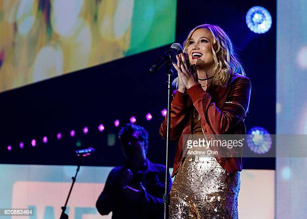 Actress Olivia Holt speaks onstage during 'WE Day Vancouver' at Rogers Arena on November 3 2016 in Vancouver Canada