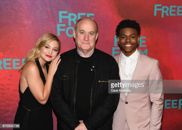 Actress Olivia Holt'Marvel's Cloak' Executive Producer'Marvel's Cloak Dagger' and 'New Warriors' Jeph Loeb and actor Aubrey Joseph 'Marvel's Cloak'...