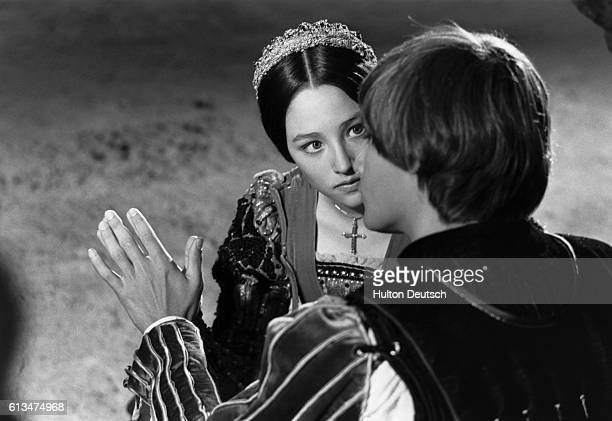 Actress Olivia Hussey and actor Leonard Whiting filming Romeo and Juliet 1967