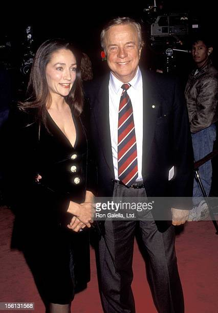 Actress Olivia Hussey and Director Franco Zeffirelli attend the 'Hamlet' Westwood Premiere on December 18 1990 at Mann Village Theatre in Westwood...
