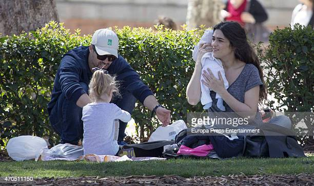 Actress Olivia Molina her daughter Vera Mur and her newborn Eric Mur are seen on March 30 2015 in Madrid Spain