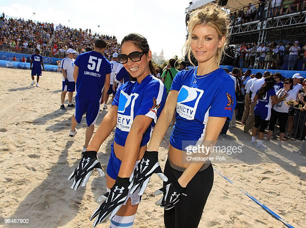 Actress Olivia Munn and model Marisa Miller attend the Fourth Annual DIRECTV Celebrity Beach Bowl at DIRECTV Celebrity Beach Bowl Stadium South Beach...