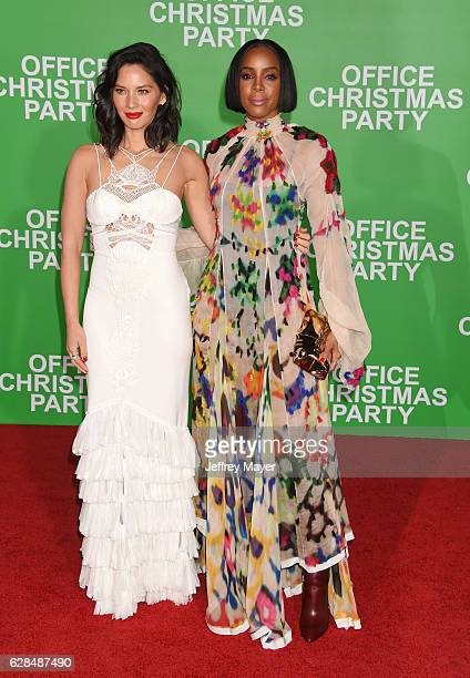 Actress Olivia Munn and singersongwriteractress Kelly Rowland arrive at the Premiere Of Paramount Pictures' 'Office Christmas Party' at Regency...
