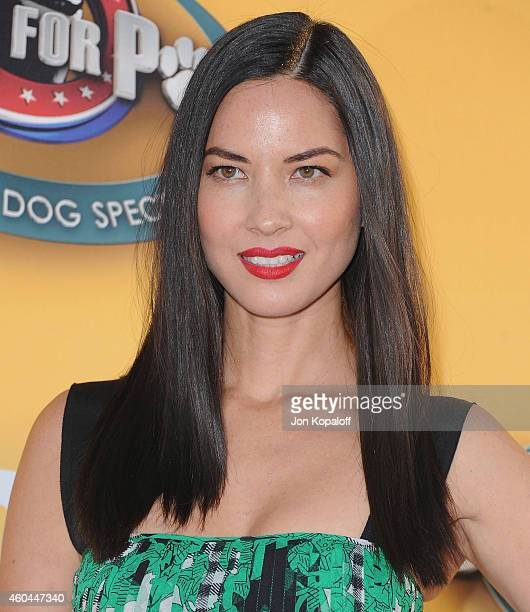 Actress Olivia Munn arrives at FOX's Cause For Paws An AllStar Dog Spectacular at The Barker Hanger on November 22 2014 in Santa Monica California