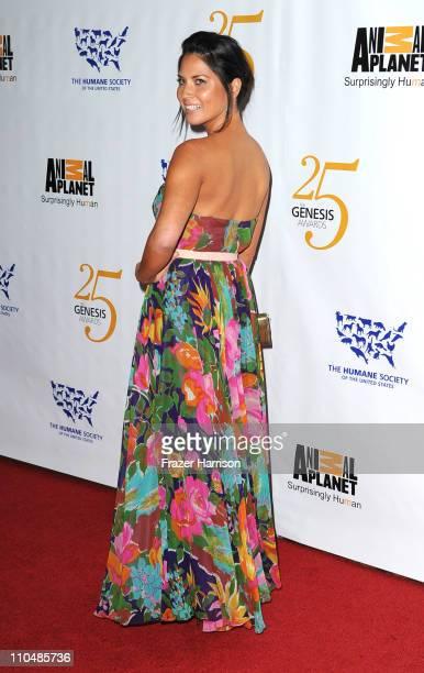 Actress Olivia Munn arrives at the 25th Anniversary Genesis Awards held at the Hyatt Regency Century Plaza Hotel on March 19, 2011 in Los Angeles,...
