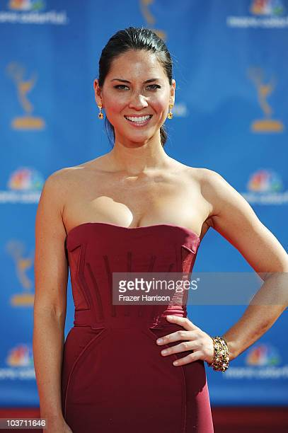 Actress Olivia Munn arrives at the 62nd Annual Primetime Emmy Awards held at the Nokia Theatre LA Live on August 29 2010 in Los Angeles California