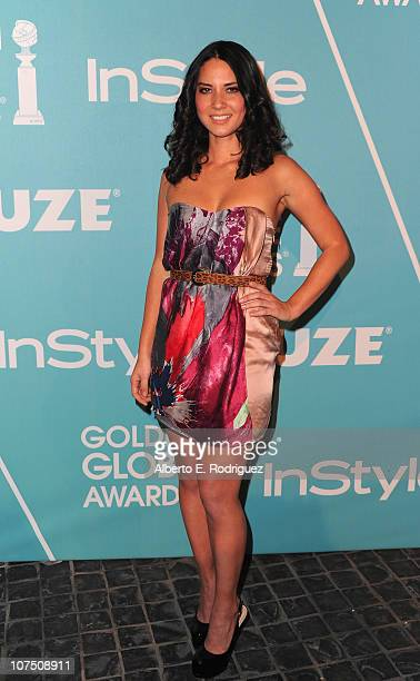 Actress Olivia Munn arrives at The Hollywood Foreign Press Associationand & InStyle's Miss Golden Globe 2011 introduction on December 9, 2010 in West...