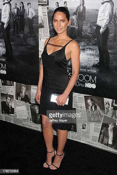 Actress Olivia Munn arrives at the Los Angeles Season 2 Premiere Of HBO's Series 'The Newsroom' at Paramount Studios on July 10 2013 in Hollywood...