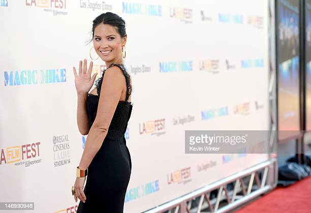 Actress Olivia Munn arrives at the premiere of Warner Bros Pictures' 'Magic Mike' during the 2012 Los Angeles Film Festival at Regal Cinemas LA Live...