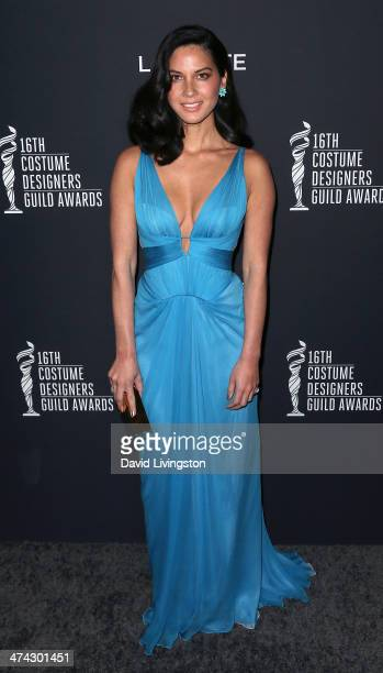 Actress Olivia Munn attends the 16th Costume Designers Guild Awards with presenting sponsor Lacoste at The Beverly Hilton Hotel on February 22 2014...