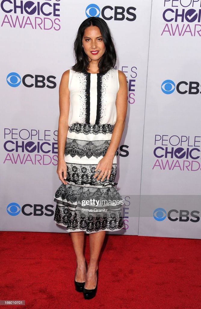 Actress Olivia Munn attends the 2013 People's Choice Awards at Nokia Theatre L.A. Live on January 9, 2013 in Los Angeles, California.