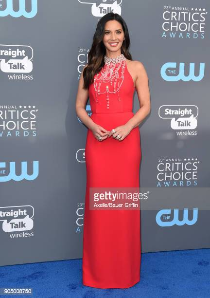 Actress Olivia Munn attends the 23rd Annual Critics' Choice Awards at Barker Hangar on January 11 2018 in Santa Monica California