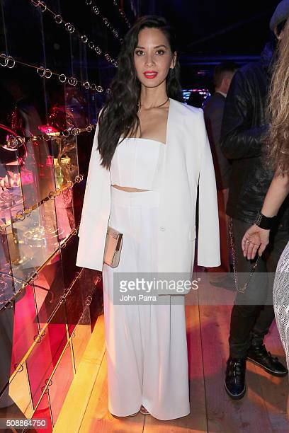 Actress Olivia Munn attends the DirecTV and Pepsi Super Saturday Night featuring Red Hot Chili Peppers at Pier 70 on February 6 2016 in San Francisco...