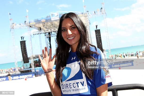 Actress Olivia Munn attends the Fourth Annual DIRECTV Celebrity Beach Bowl at DIRECTV Celebrity Beach Bowl Stadium South Beach on February 6 2010 in...
