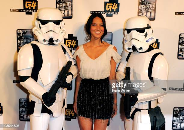 Actress Olivia Munn attends the GPhoria Strikes Back party hosted by G4 and Lucasfilm during ComicCon 2010 held at The Hard Rock Hotel on July 22...