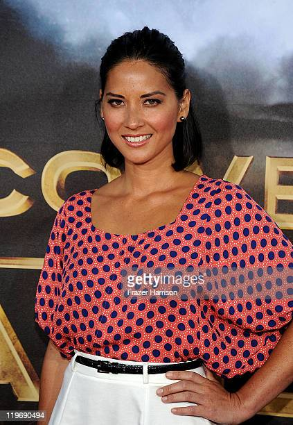 Actress Olivia Munn attends the Premiere of Universal Pictures Cowboys Aliens during ComicCon 2011 at San Diego Civic Theatre on July 23 2011 in San...