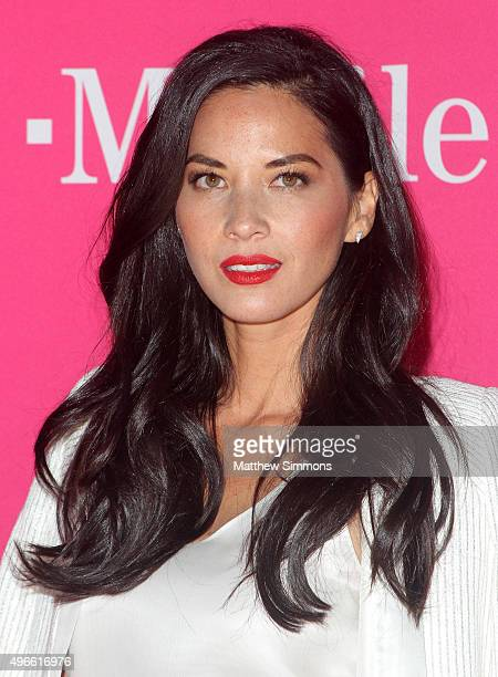 Actress Olivia Munn attends the TMobile Uncarrier X Launch at The Shrine Auditorium on November 10 2015 in Los Angeles California