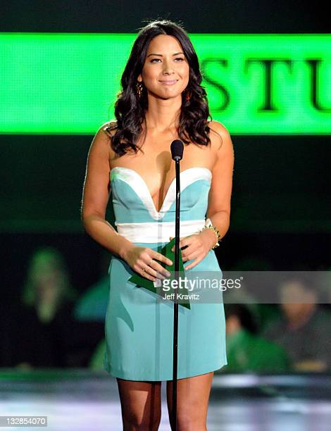 """Actress Olivia Munn onstage during Spike TV's """"2010 Video Game Awards"""" held at the LA Convention Center on December 11, 2010 in Los Angeles,..."""