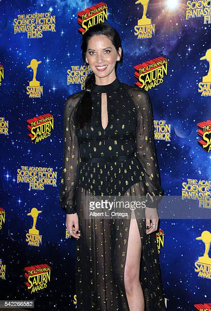 Actress Olivia Munn poses in the pressroom at the 42nd annual Saturn Awards at The Castaway on June 22, 2016 in Burbank, California.