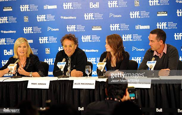 Actress Olivia Newton John actor Marc Jordan actress Allie MacDonald and director Michael McGowan speak at 'Score A Hockey Musical' press conference...