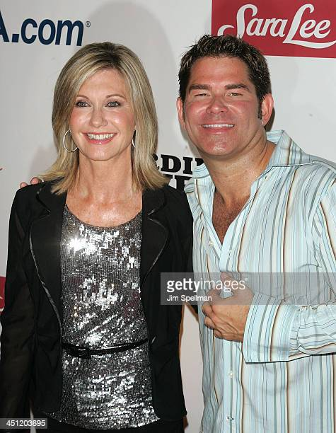 Actress Olivia Newton John and Matt Zarley attends the New York premiere of Sordid Lives The Series at the New World Stages on July 15 2008 in New...