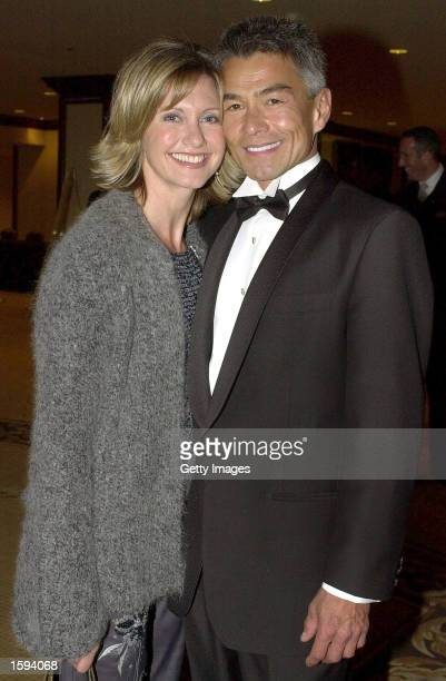 Actress Olivia NewtonJohn poses with her boyfriend Patrick McDermott at the 10th Annual Human Rights Campaign Gala February 17 2001 in Los Angeles CA