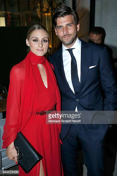 Actress Olivia Palermo and her husband model Johannes Huebl attend the Amfar Paris Dinner Stars gather for Amfar during the Haute Couture Week Held...