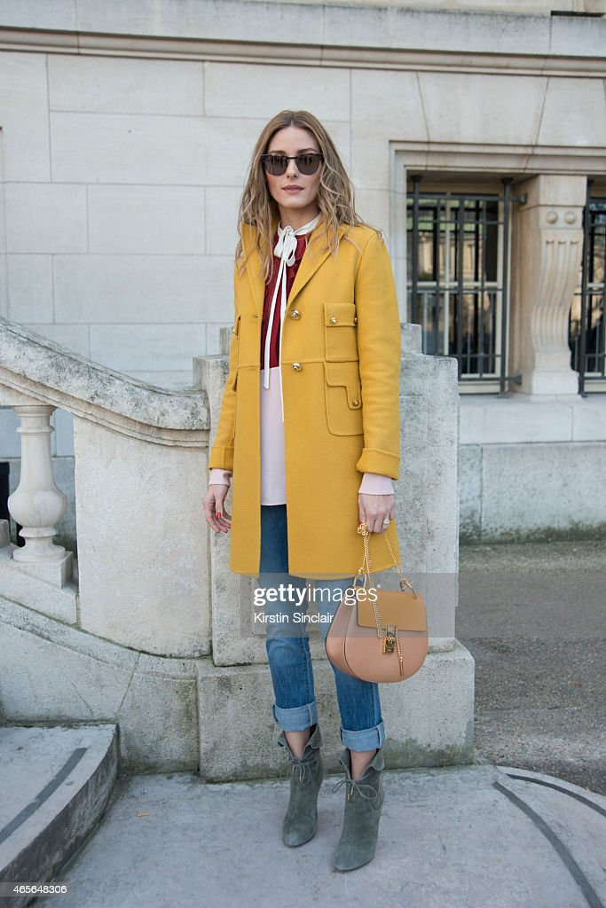 Actress Olivia Palermo wears a Chloe shirt jacket and bag at the Chloe show on day 6 of Paris Collections: Women on March 08, 2015 in Paris, France.
