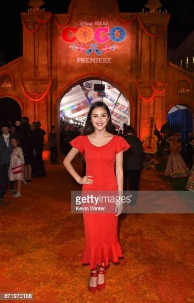 Actress Olivia Rodrigo arrives at the premiere of Disney Pixar's 'Coco' at the El Capitan Theatre on November 8 2017 in Los Angeles California