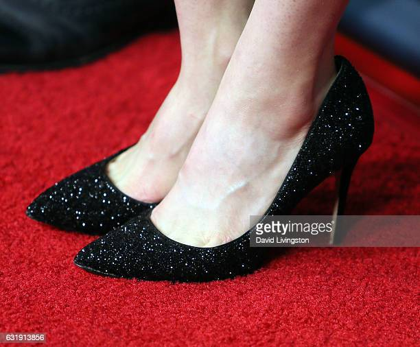 Actress Olivia Taylor Dudley shoe detail attends the 2017 NBCUniversal Winter Press Tour Day 1 at the Langham Hotel on January 17 2017 in Pasadena...