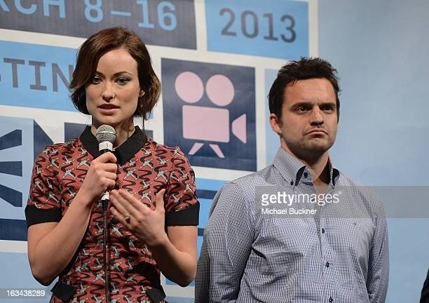 Actress Olivia Wilde and actor Jake Johnson attend the World Premiere of 'Drinking Buddies' at the 2013 SXSW Music Film Interactive Festival at the...