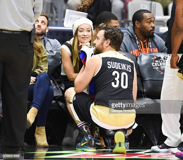 Actress Olivia Wilde and actor Jason Sudeikis attend the 2016 NBA AllStar Celebrity Game at Ricoh Coliseum on February 12 2016 in Toronto Canada