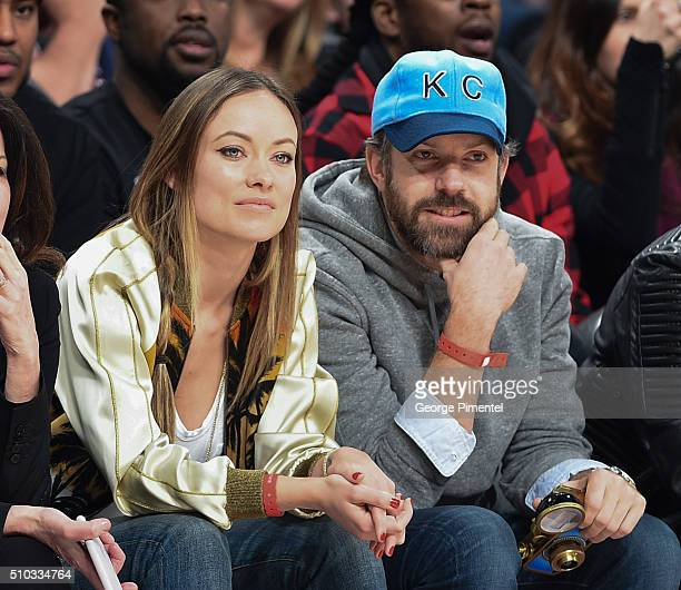 Actress Olivia Wilde and Actor Jason Sudeikis attend the 2016 NBA AllStar Game at Air Canada Centre on February 14 2016 in Toronto Canada