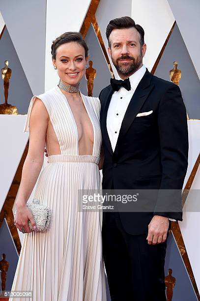 Actress Olivia Wilde and actor Jason Sudeikis attend the 88th Annual Academy Awards at Hollywood Highland Center on February 28 2016 in Hollywood...