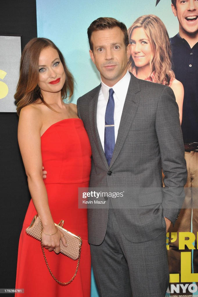 Actress Olivia Wilde and actor Jason Sudeikis attend the 'We're The Millers' New York Premiere at Ziegfeld Theater on August 1, 2013 in New York City.